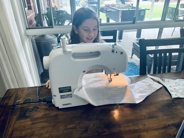 Sewing a straight stitch